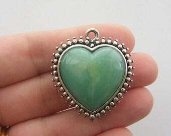 1 Heart pendant green antique silver tone H136
