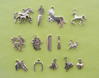 The Horse Charms Collection - 14 different antique silver tone charms