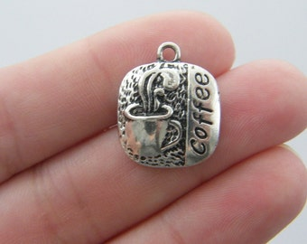 4 Coffee charms antique silver tone FD172