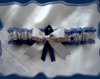 Dallas Cowboys Navy Organza Ribbon Wedding Garter Toss