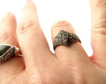 Marcasite Ring - Sterling Silver - Vintage