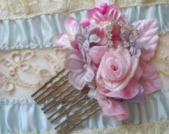 """Pink ribbon rose rococo comb marie antoinette style ribbonwork victorian haircomb """"Pirouette"""""""