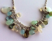 Necklace Gemstones Moonstone, Moss Green Aqua Blue-Green Peruvian Opal