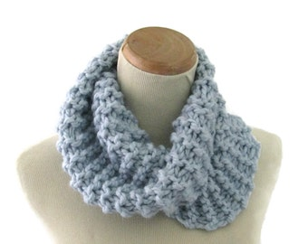 Bulky Cowl, Hand Knit Scarf, Knit Cowl, Winter Scarf, Blue Cowl, Fiber Art, Outlander Inspired Scarf, Women Scarf, Circle Scarf, Neck Warmer
