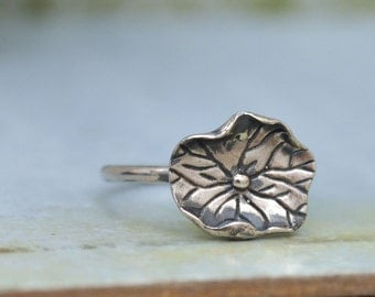 water lily ring, sterling silver ring, lotus, stack ring, leaf ring, handmade water lily leaf ring, antiqued silver ring