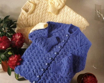Knitting Pattern - To fit 22 to 31 in chest DK -  Cardigan and Sweater for Baby/Child