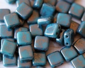 6mm CzechMates Tile Beads - Persian Turquoise Moon Dust - Picasso Czech Glass Beads - Two Hole Tile Beads - Bead Soup Beads