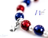 4th of July Bracelet, July 4th Star bracelet, Red White and Blue Bracelet for 4th of July with Silver Star Charms, Fourth of July