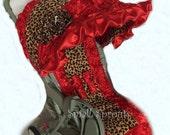 Custom Boutique Red 3D Roses/Large Leopard Minky Stroller Cover Set