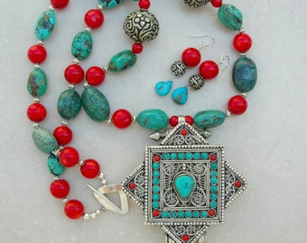 AMAZING Large Tibetan Gau Pendant Inlaid with Turquoise, Coral & Natural Turquoise Beads, Extra Long Statement Necklace Set by SandraDesigns