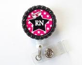 RN Star Black - Nurse Badge Reel - Nursing Badge - Nurse Badge Clip - Cute Badge Reel - Registered Nurse Badge Holder - OR Badge Holder