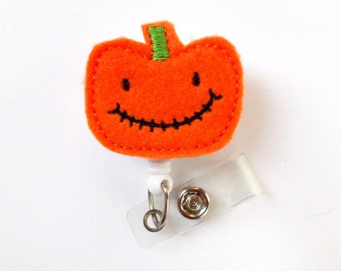 Peter the Pumpkin - Unique ID Badge Reel - Halloween Badge Holder - Cute Badge Reel - Nurse Badge Holder - Nursing Badge Clip - Felt Badge