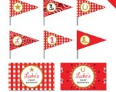 Country Western Party - Personalized DIY printable straw flags and napkin rings