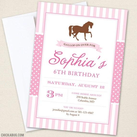 Pony Party Horse Invitations