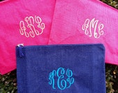 Monogram Clutch - Personalized Jute Carry-All - Spring Break - Wet Bikini Bag - Fits most Tablets too!