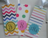Shiny White With Dots, Chevron or Stripes Multi-colored Bookmarks