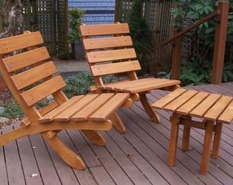 Cedar Chairs U0026 Side Table Set   Outdoor Comfort   Deck And Garden Furniture    10