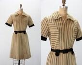 Vintage Dress - Baseball Dress - 1960s MOD Black and Tan
