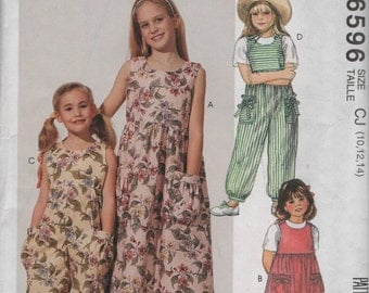 McCalls Childs Jumpsuit and Dress Sewing Pattern 6596 Uncut