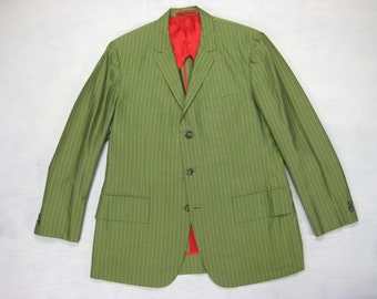 1975 Custom Made Silk Jacket Vintage 1970s Men's Christmas Hong Kong 3 Button Striped  Tailored Impala Clothiers Size 39/40