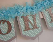I Am One Banner - 1st Birthday Banner - Blue and Silver Banner - Photo Prop - Birthday Garland - Glitter Banner - One Banner