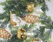 Vintage Gold Christmas Tree Ornaments Glass Mushroom Santa Pine cones