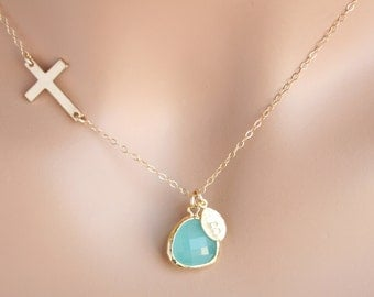 personalized Sideways Cross Necklace in Gold with beautiful aqua  blue stone in bezel and initial leaf, perfect Christmas gift for her, mom