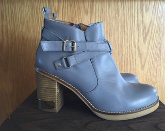 Grey Leather Stacked Heel Ankle Boots