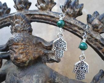 Hamsa Earrings  Hand of Fatima  Protection  Good Fortune  Green Malachite  Hand of God Under 20 Dangle Earrings  Success Wealth Health BOHO
