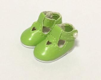 Green School Shoes for Tiny BJD, Lati Yellow, PukiFee, Riley Kish, Bobobie Nissa, DIM Silf, Dollk S00021G