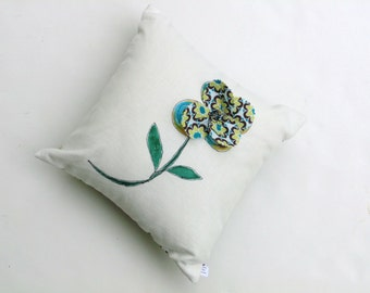 Linen pillow, hand painted pillow, appliqued flower, small pillow complete with insert, accent pillow, decorative, teal brown, summer pillow
