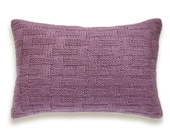 Basket Weave Hand Knit Pillow Cover In Mauve Ash Pink Dusty Lilac Antique Fuchsia Purple Violet 12 x 18 inch Textured Wool Natural Linen