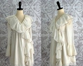 Vintage 1960s Mini Dress 60s White Cotton Ruffled Dress or Negligee Womens Extra Small