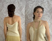 Vintage 1970s Off White Top 70s Beaded Semi Formal Silk Sweater Top Womens Size Small Medium Original Tags