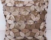 beige velvet cutout petal flora pillow,textured pillow, luxury pillow,home decor,housewares,special pillow,solid texture pillow,throw pillow