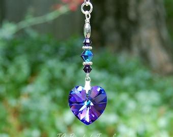 Purple Heart Swarovski Crystal, Rearview Mirror Car Charm Decoration, Home Decor, Heliotrope Heart Ornament