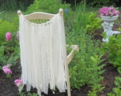"Rustic Prairie Style All Lace Garland Cream Ivory Natural Rustic Wedding Chair Garland 24"" long"