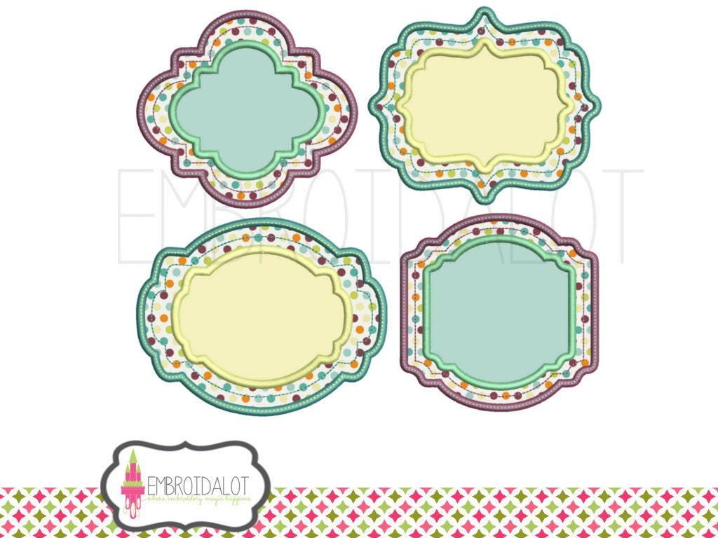 Monogram Frame Applique Embroidery Design Set 4 Styles 3