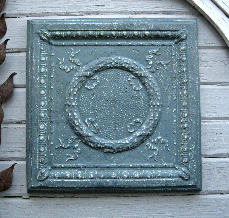 Vintage Tin Ceiling Tile Metal Architectural Salvage Blue