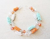 Coiled Beaded Orange, White, Turquoise Blue Wire Wrapped Wrap Bracelet By Distinctly Daisy
