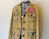 Gold Large Denim JACKET - Golden Topaz Dyed Upcycled Nautica Denim Safari Blazer Jacket - Adult Womens Size Large (44 chest)