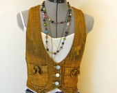 "Gold Small Denim Jean VEST - Distressed Urban Gold Hand Dyed Upcycled Decree Denim Vest - Adult Womens Juniors Small (30"" chest)"