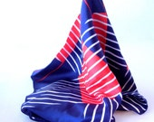 Patriotic Plaid Scarf, Red White and Navy Blue Stripes Plaid, Acetate, 70s 80s