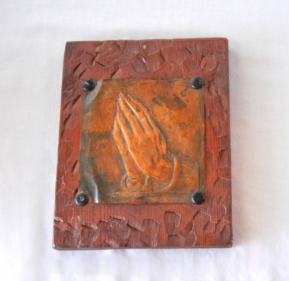 Praying hands wall plaque folk art embossed metal carved wood
