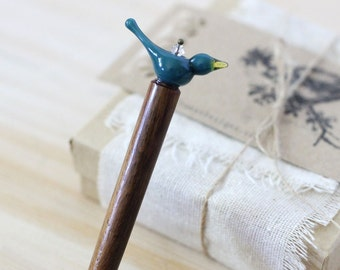 blue bird hair pin, bluebird wooden hair stick, bird bun pin