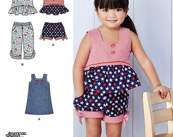 Toddlers' Dress Pattern, Toddlers' Summer Top Pattern, Pull-on Shorts and Crops Pattern, Sz 6mo to 4, Simplicity Sewing Pattern 1118