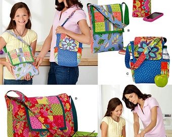Patchwork Quilting Bags Pattern, A Learn to Sew Pattern, Easy Tote Bags Pattern, Simplicity Sewing Pattern 1935