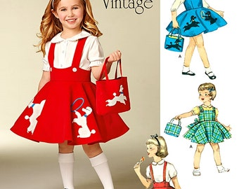 Girls' Vintage 1950's Jumper Pattern, Girls' Poodle Skirt Pattern, Sz 3 to 8, Simplicity Sewing Pattern 1075