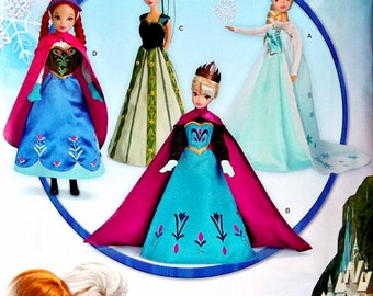 11 1/2 inch Fashion Doll Elsa and Anna Dress Pattern, 11 1/2 inch Frozen Sisters Dress Pattern, Simplicity Sewing Pattern 1234