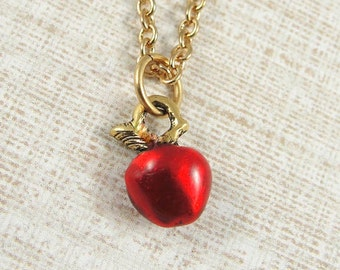 Tiny Red Apple Necklace, Gold Plated Red Apple Charm on a Gold Cable Chain